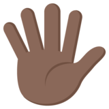 Raised Hand With Fingers Splayed: Dark Skin Tone on EmojiOne 2.2.4