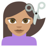 Person Getting Haircut: Medium Skin Tone on EmojiOne 2.2.5