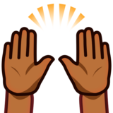 Raising Hands: Medium-Dark Skin Tone on emojidex 1.0.33