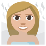 Woman in Steamy Room: Medium-Light Skin Tone on EmojiOne 3.1