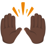 Raising Hands: Dark Skin Tone on Messenger 1.0