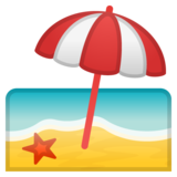 Beach With Umbrella on Google Android 8.0