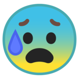 Anxious Face With Sweat on Google Android 8.1