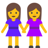 Two Women Holding Hands on Google Android 7.0