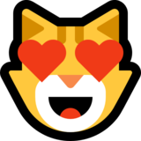 Smiling Cat Face With Heart-Eyes on Microsoft Windows 10 Fall Creators Update