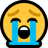 Loudly Crying Face on Microsoft Windows 10 April 2018 Update