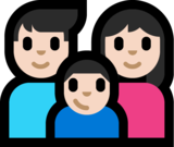 Family - Man: Light Skin Tone, Woman: Light Skin Tone, Boy: Light Skin Tone on Microsoft Windows 10 Anniversary Update