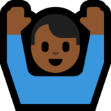 Raising Hands: Medium-Dark Skin Tone on Microsoft Windows 10 Anniversary Update