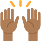 Raising Hands: Medium-Dark Skin Tone on Twitter Twemoji 2.3