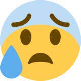 Anxious Face With Sweat on Twitter Twemoji 2.5