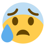 Anxious Face With Sweat on Twitter Twemoji 1.0