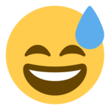Smiling Face With Open Mouth & Cold Sweat on Twitter Twemoji 1.0