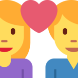 Couple With Heart: Woman, Man on Twitter Twemoji 2.0