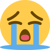 Loudly Crying Face on Twitter Twemoji 2.2.3
