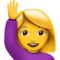Woman Raising Hand on Apple