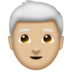 Man, White Haired: Medium-Light Skin Tone