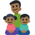 Family - Man: Medium-Dark Skin Tone, Girl: Medium-Dark Skin Tone, Boy: Medium-Dark Skin Tone