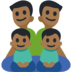 Family - Man: Medium-Dark Skin Tone, Man: Medium-Dark Skin Tone, Boy: Medium-Dark Skin Tone, Boy: Medium-Dark Skin Tone