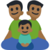 Family - Man: Medium-Dark Skin Tone, Man: Medium-Dark Skin Tone, Boy: Medium-Dark Skin Tone