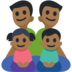 Family - Man: Medium-Dark Skin Tone, Man: Medium-Dark Skin Tone, Girl: Medium-Dark Skin Tone, Boy: Medium-Dark Skin Tone