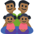 Family - Man: Medium-Dark Skin Tone, Man: Medium-Dark Skin Tone, Girl: Medium-Dark Skin Tone, Girl: Medium-Dark Skin Tone