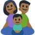 Family - Man: Medium-Dark Skin Tone, Woman: Medium-Dark Skin Tone, Boy: Medium-Dark Skin Tone