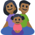 Family - Man: Medium-Dark Skin Tone, Woman: Medium-Dark Skin Tone, Girl: Medium-Dark Skin Tone