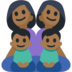 Family - Woman: Medium-Dark Skin Tone, Woman: Medium-Dark Skin Tone, Boy: Medium-Dark Skin Tone, Boy: Medium-Dark Skin Tone