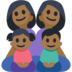 Family - Woman: Medium-Dark Skin Tone, Woman: Medium-Dark Skin Tone, Girl: Medium-Dark Skin Tone, Boy: Medium-Dark Skin Tone