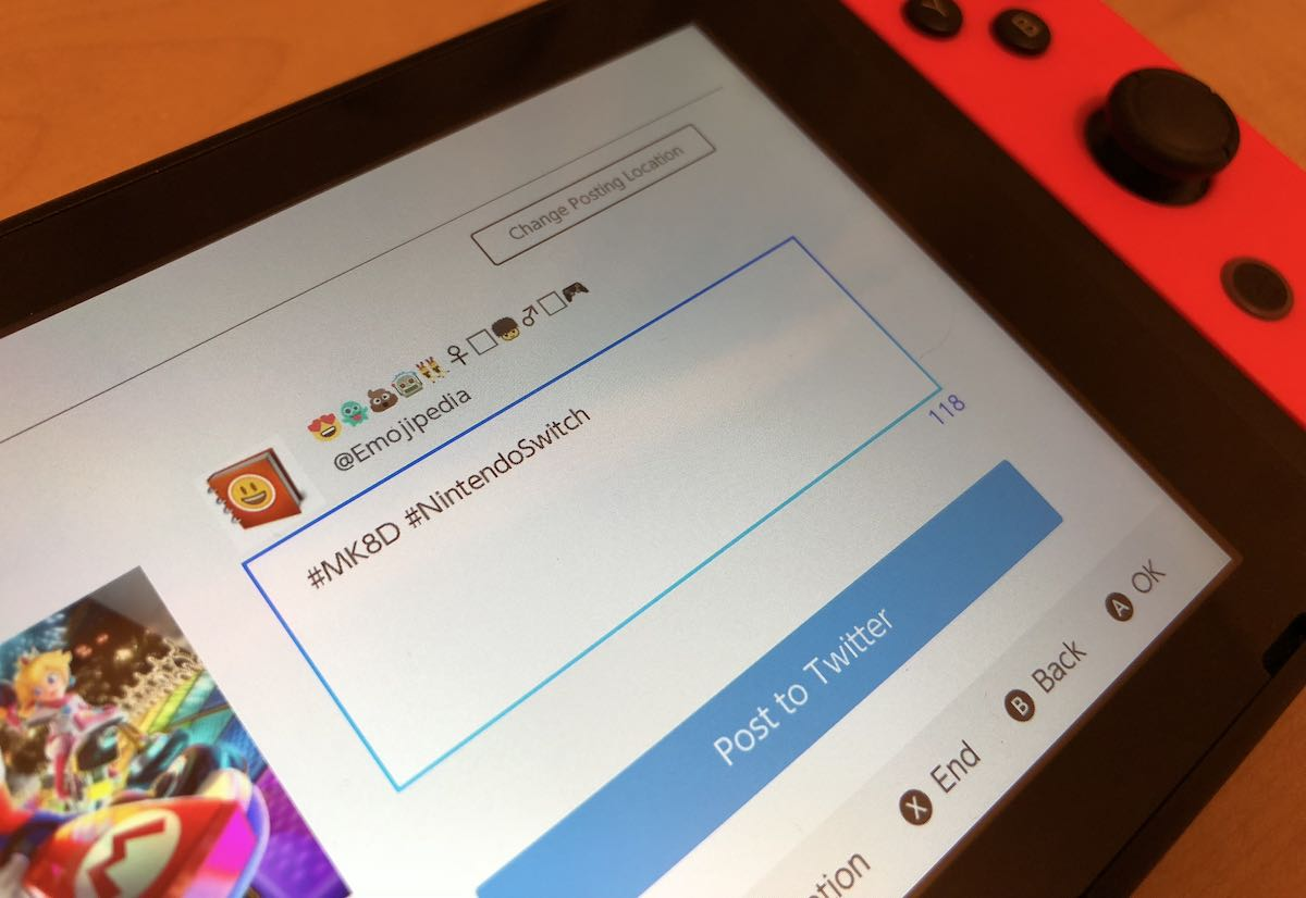 Nintendo Switch showing Twitter with emojis in name