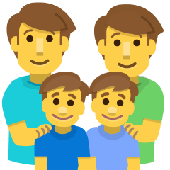 Family: Man, Man, Boy, Boy on Skype Emoticons 1.2