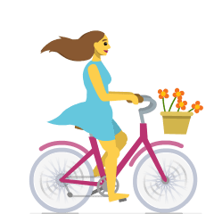 Woman Biking on Skype Emoticons 1.2