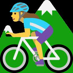 Woman Mountain Biking on Skype Emoticons 1.2